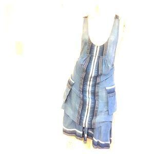 Free People size L wrap dress in denim blue